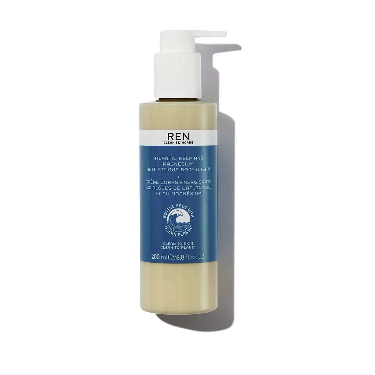 REN Clean Skincare Atlantic Kelp & Magnesium Anti-Fatigue Body Cream Hydrating Body Moisturizer Packaged in Recycled Ocean Plastic Bottle, 6.8 Fl Oz