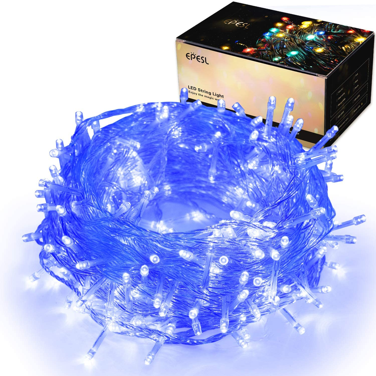 320LEDs Halloween Decor String Lights, 32m/105ft 8 Modes End-to-End Extendable Plug in Waterproof Indoor/Outdoor Fairy Twinkle Lights for Thanksgiving Day/Tree/Wedding/Patio/Room/Home - Blue
