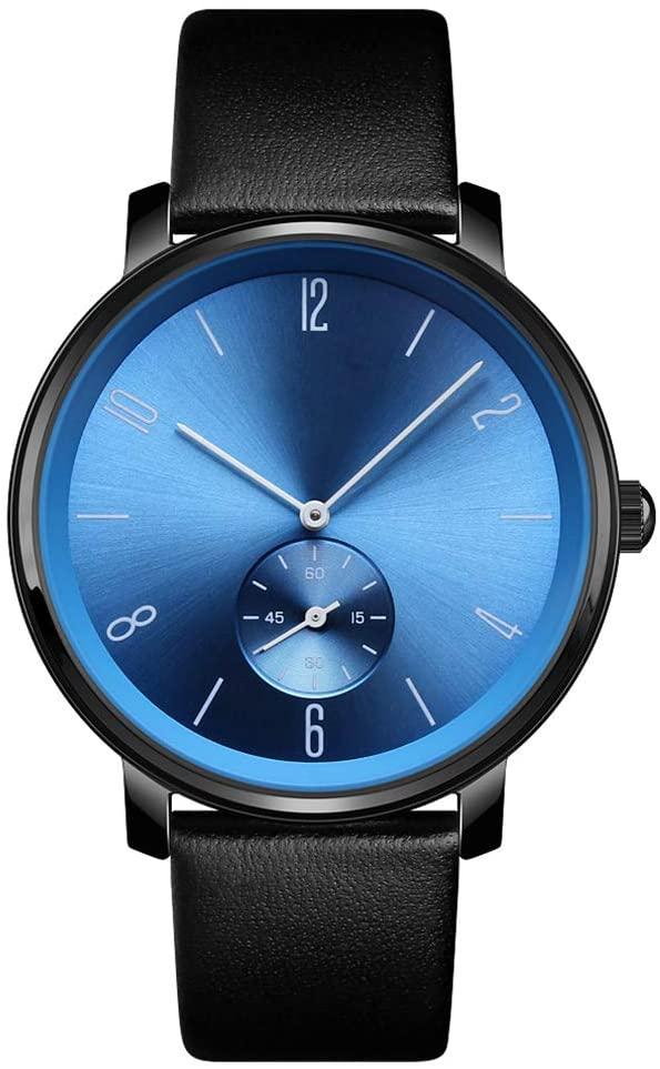JIHUIA Mens/Women Quartz Watch Leather Band Wrist Business Dress Classical Analogue Watches Strap