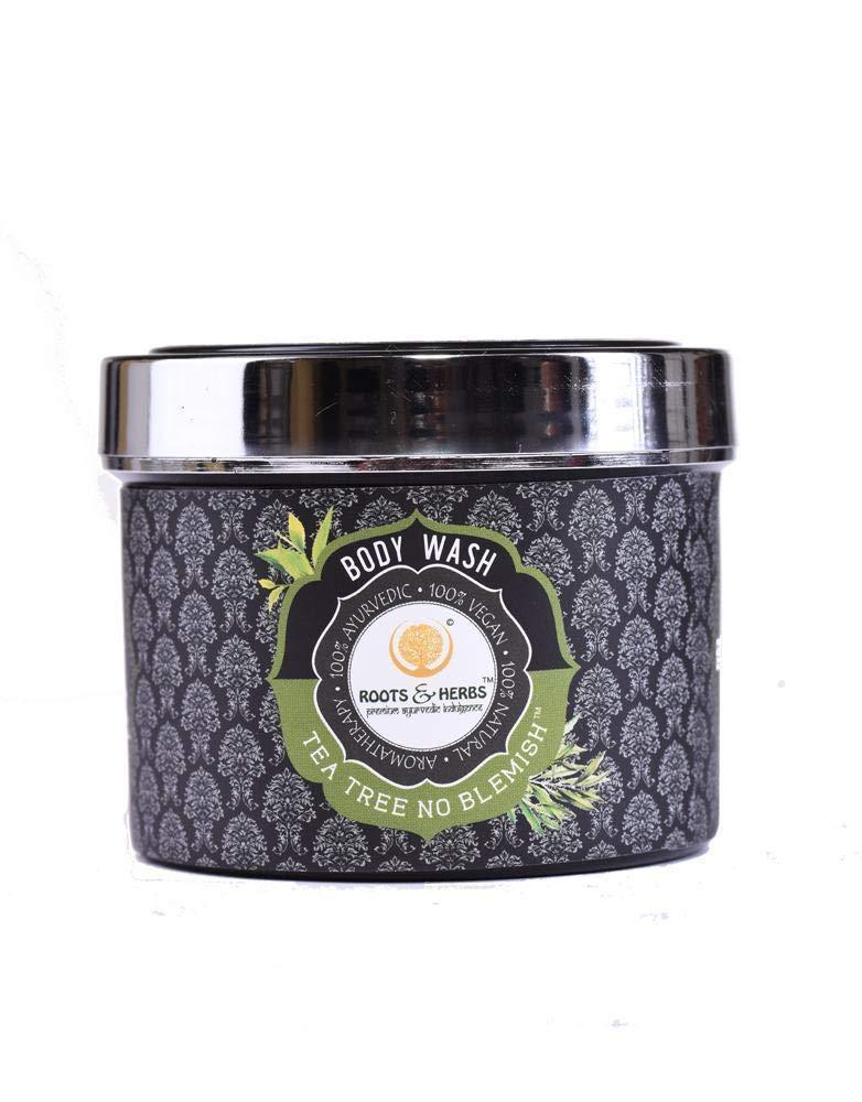Roots & Herbs Ayurvedic Natural Treatment 100% Vegan Paraben Free No SLS Tea Tree Body Wash, Shower Powder for Women and Men for Body Odor, Athlete's Foot, Jock Itch, Skin Irritations, Acne (100 gm)