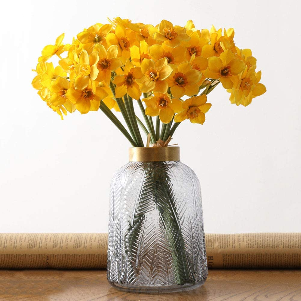 Meiyum Artificial Narcissus Bouquet, 6pcs Artificial Daffodils Flowers for Indoor Outdoor Home Office Garden Patio Yard Table Wedding Farmhouse Centerpieces Pot Decor