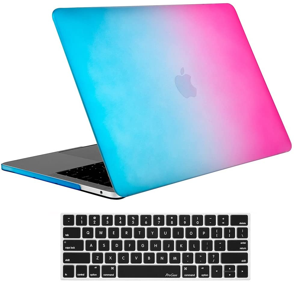 ProCase MacBook Pro 13 Case 2019 2018 2017 2016 Release A2159 A1989 A1706 A1708, Hard Case Shell Cover and Keyboard Skin Cover for MacBook Pro 13 Inch with/Without Touch Bar -Rainbow