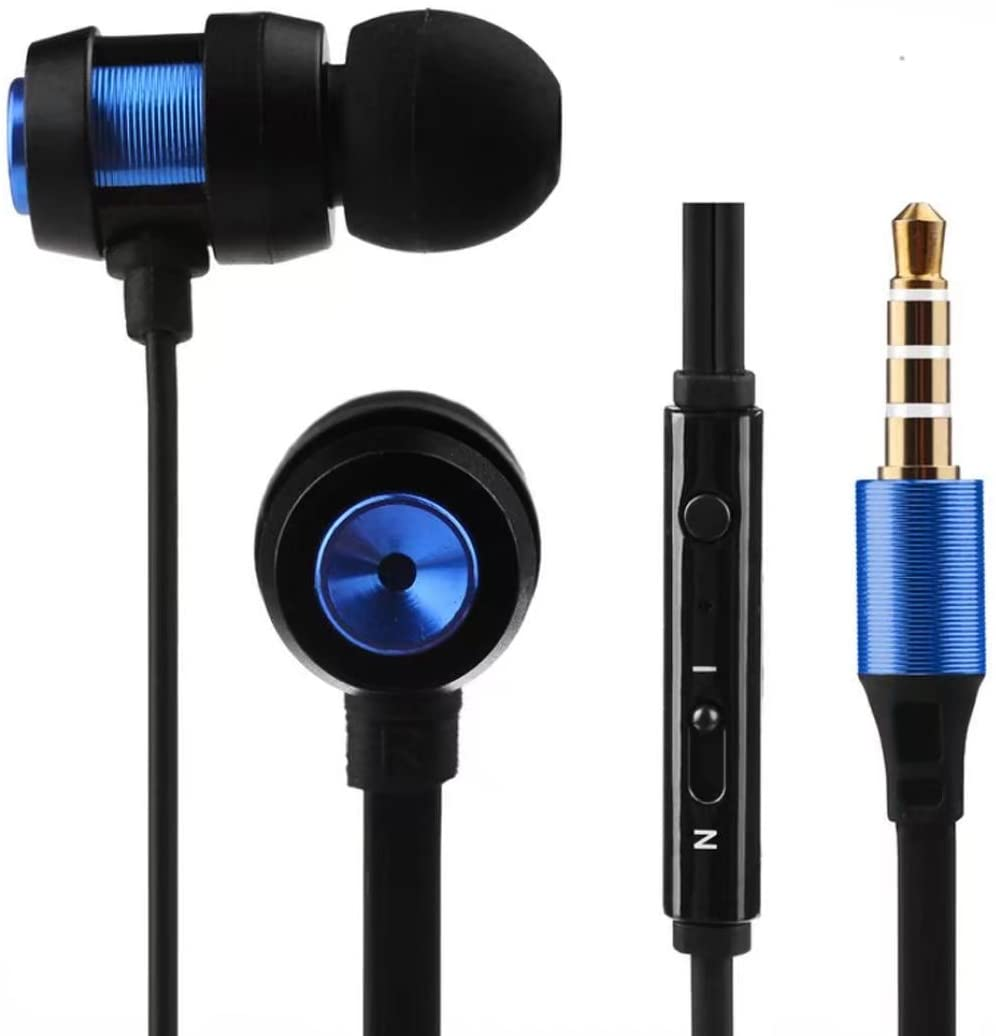 Leoy88 in-Ear Wired Earbuds Stereo Bass Earphones Ultra-Light Sport Workout Microphone Music Stereo Headphones,Compatible for Both iOS & Android Systems for Most Smart Phones (Blue)