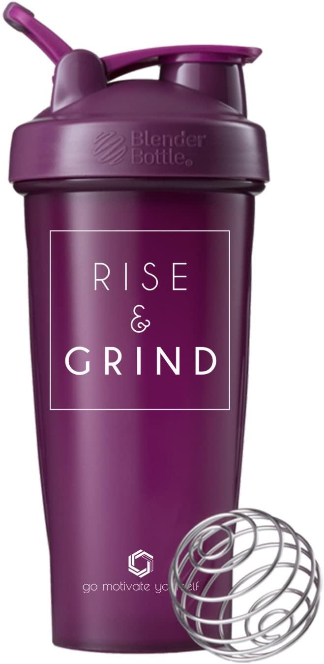 GOMOYO Motivational Quote on Blender Bottle Brand Shaker Bottle, 20 or 28 Ounce Capacity, Fitness Gift, Includes BlenderBall Whisk, Dishwasher Safe