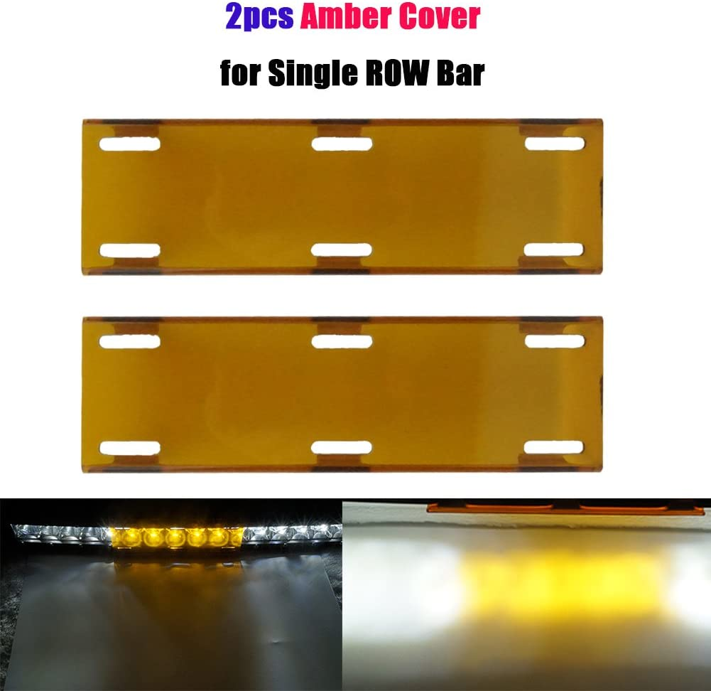 Amber Yellow Sinlge Row Led Light Bar Cover Led Light Cover For Straight Curved Fog Offroad Light Bar Lens Protective Cover Kits Off Road SUV ATV Truck Vehicle 4X4 4WD(2pcs)