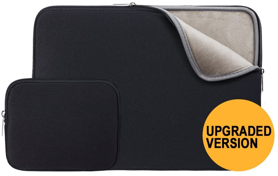 RAINYEAR 13 Inch Laptop Sleeve Soft Case Bag with Accessories Pouch,Specially Compatible with 2019 2020 New Model 13.3 MacBook Air/Pro/TouchBar A1932 A1706 A1708 A2159 A2179(Black,Upgraded Version)