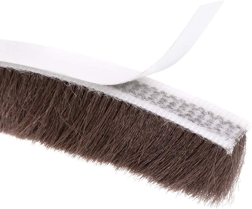 uxcell Brush Weather Stripping, Adhesive Felt Door Seal Strip Pile Weatherstrip Door Sweep Brush for Door Window 197Inch L X 0.6 Inch W(5000mm X 15mm) Brown