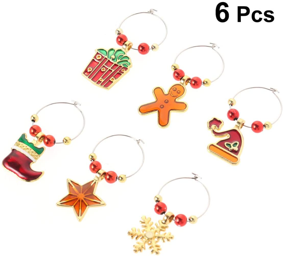 UPKOCH 6pcs Christmas Wine Glass Charms Wine Bottle Tag Marker Holiday Supply