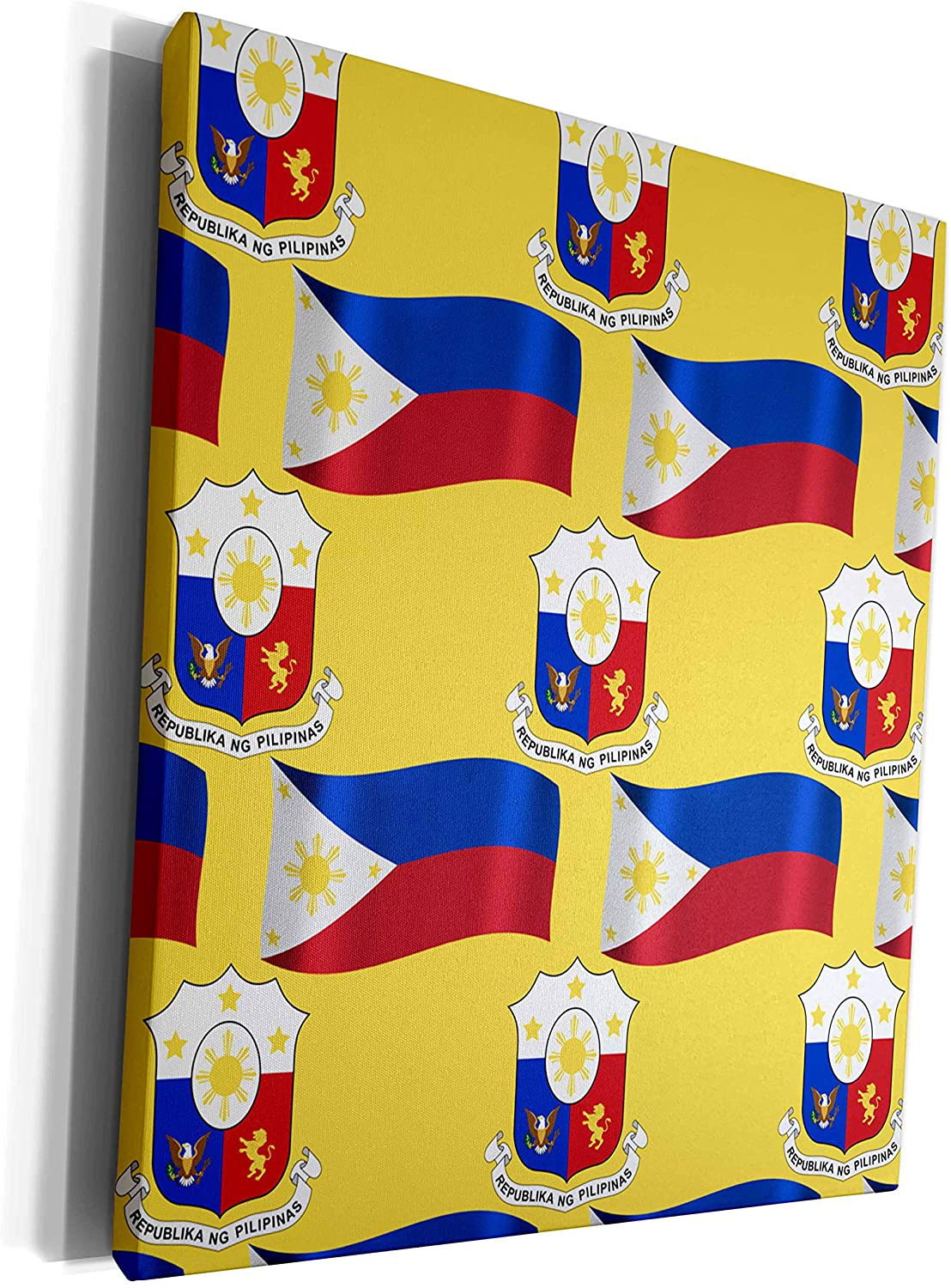 3dRose 777images Country Patterns - Flag and Coat of Arms of the Republic of Philippines on a saffron background - Museum Grade Canvas Wrap (cw_114187_1)