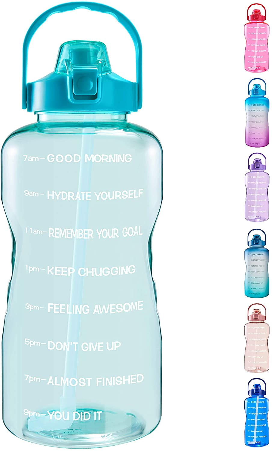 EYQ 1 Gallon/128 oz Water Bottle with Time Marker, Carry Strap and Motivational Quote, Leak-Proof Tritan BPA-Free, Ensure You Drink Enough Water for Fitness, Gym, Camping, Sports (Clear Mint green)