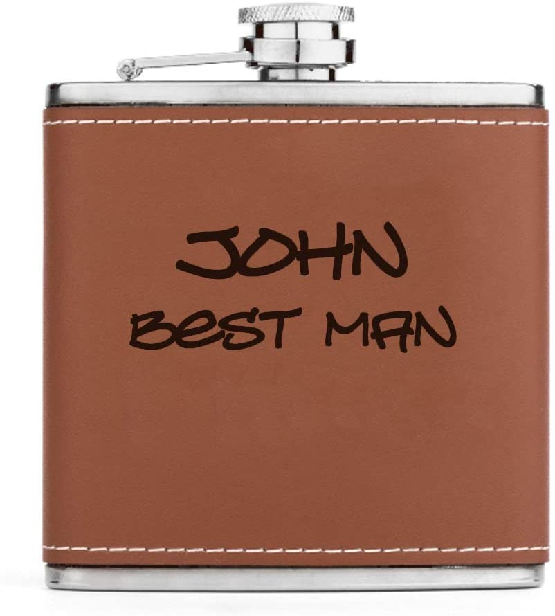 Engraved 6oz Stainless Steel Genuine Leather Wrapped Brown Hip Flask Custom Personalized (Custom Text)