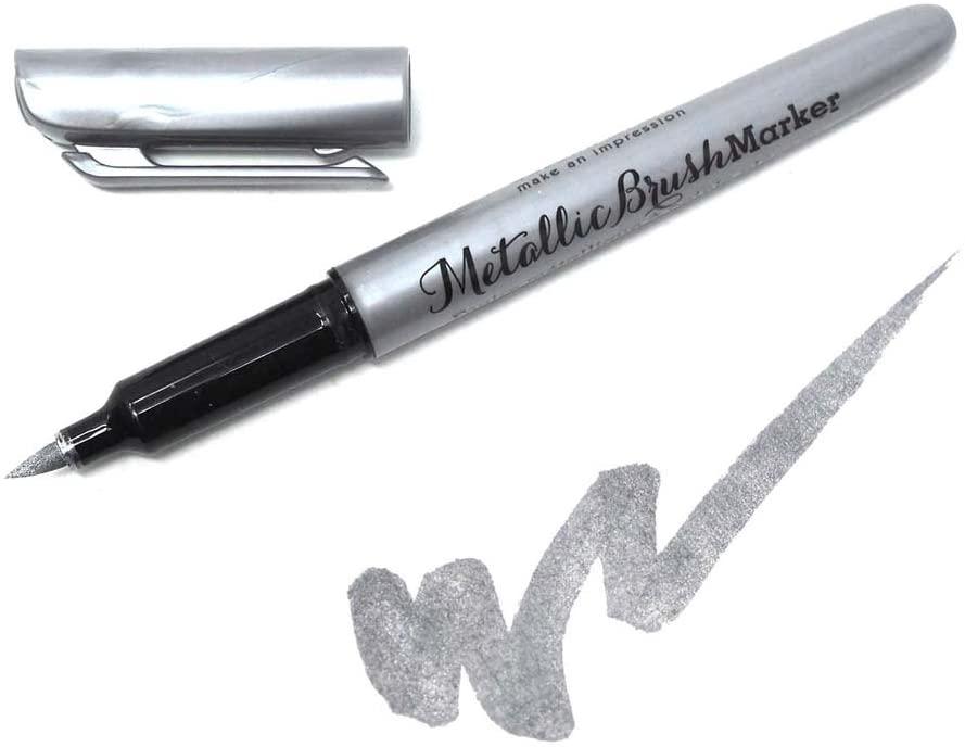 Homeford Metallic Silver Marker 6.8mm Fiber Brush, 5-Inch