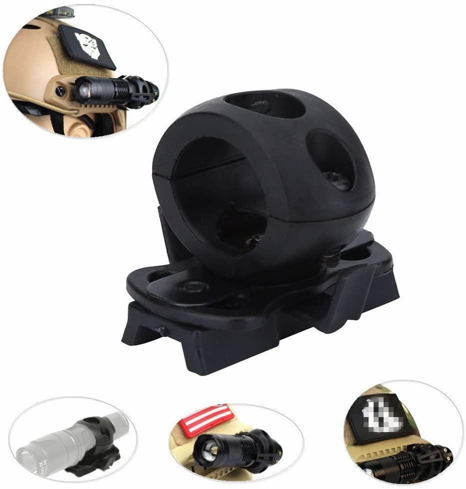 Helmet Flashlight Mount Portable Helmet Flashlight Holder Mount Plastic Torch Mount Flashlight Bracket for Fast Helmet Rail(Black)