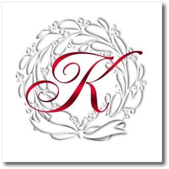 3dRose TDSwhite – Christmas Holidays Xmas - Christmas Wreath Red Monogram K - 8x8 Iron on Heat Transfer for White Material (ht_322255_1)