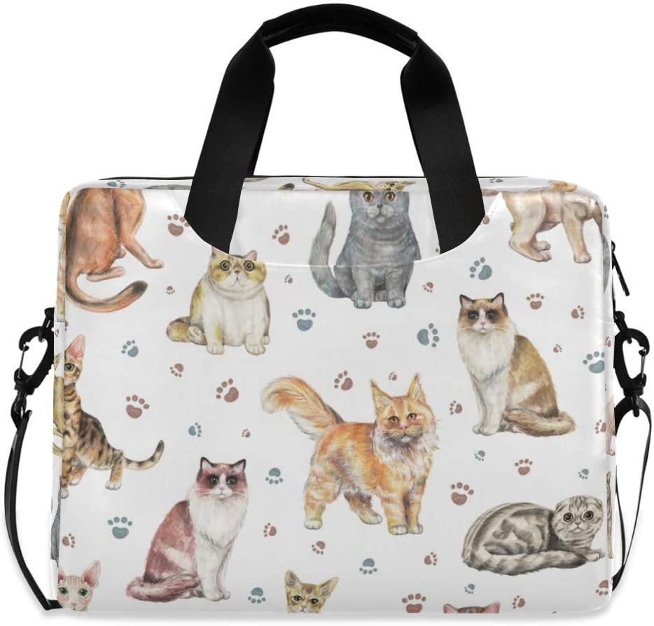 ALAZA Cute Cat Kitten & Paw Print Laptop Case Bag Sleeve Portable Crossbody Messenger Briefcase w/Strap Handle, 15-17 inch