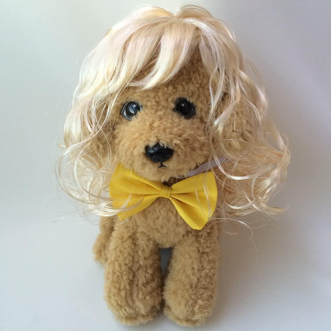 Hodorli Cosplay Adorable Blonde Pet Dog Wig with Bow Tie
