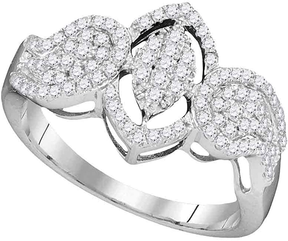 Dazzlingrock Collection 10kt White Gold Womens Round Diamond Oval Frame Cluster Ring 1/2 ctw