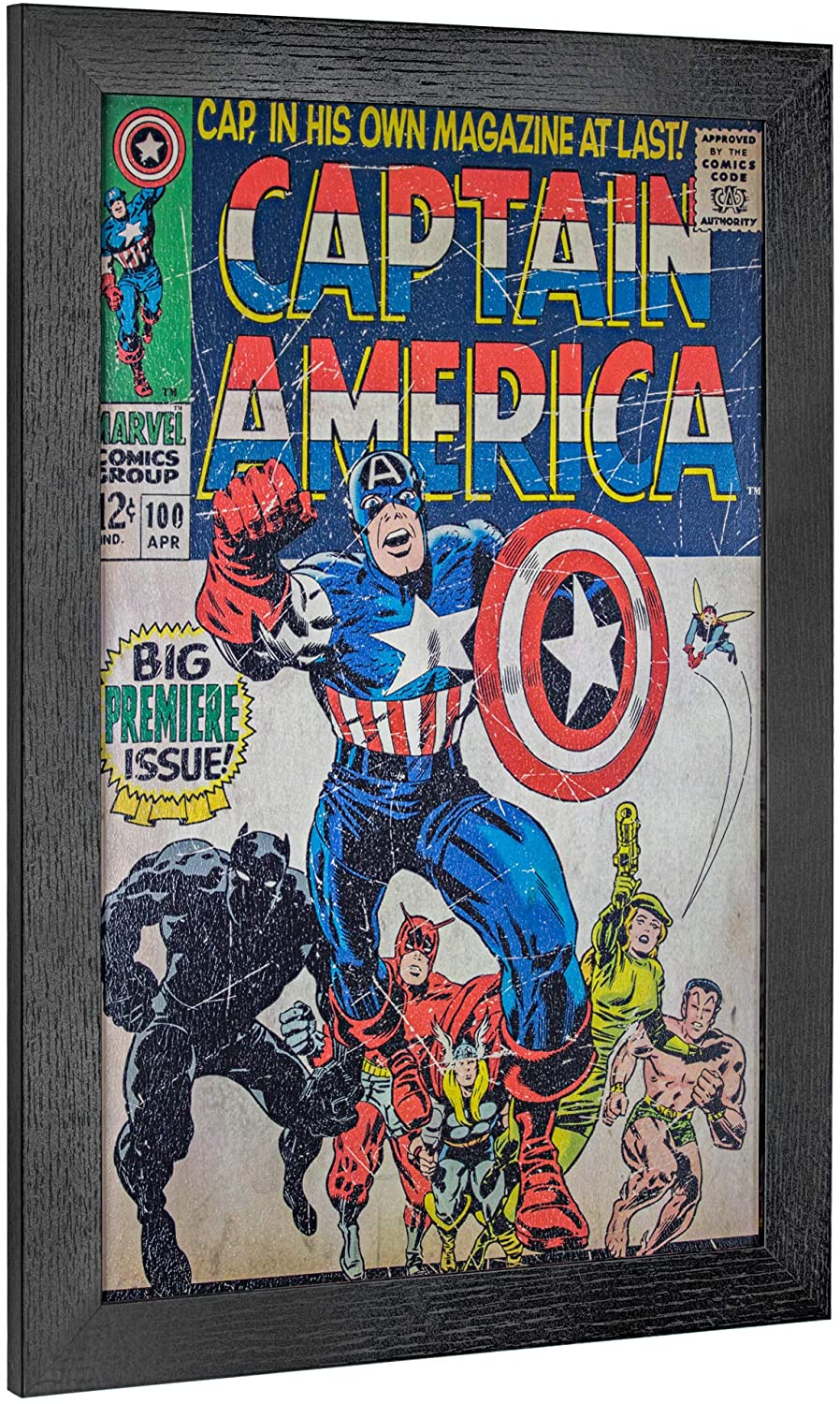 """Officially Licensed Marvel Comics Vintage Captain America Premiere Issue Comic Book Cover Framed Wall Art Print (19"""" H x 13"""" L)"""