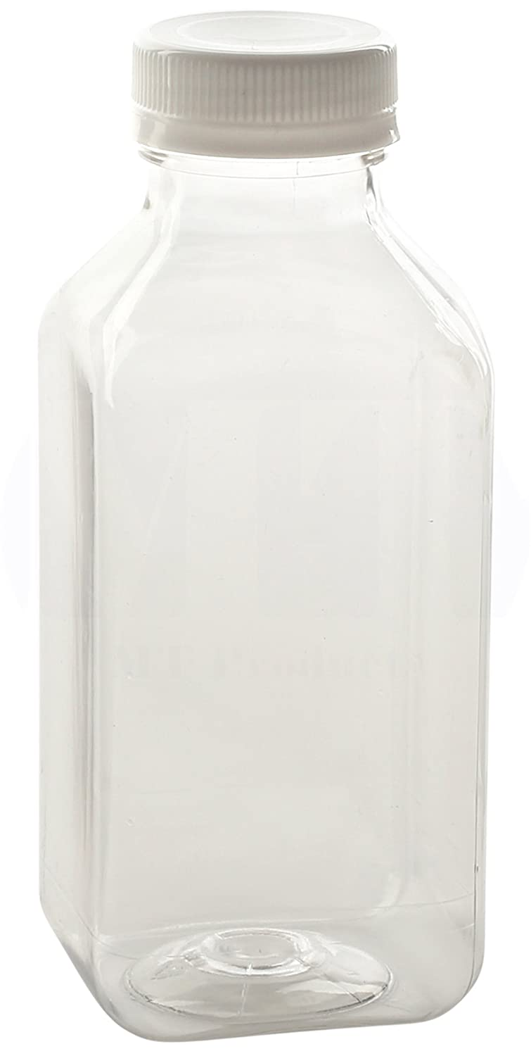 32 Oz. / 1 Quart Empty Clear PET Plastic Juice Bottles with Tamper Evident Caps by AM Bottle Supply - Set of 8 Bottles and 8 Caps