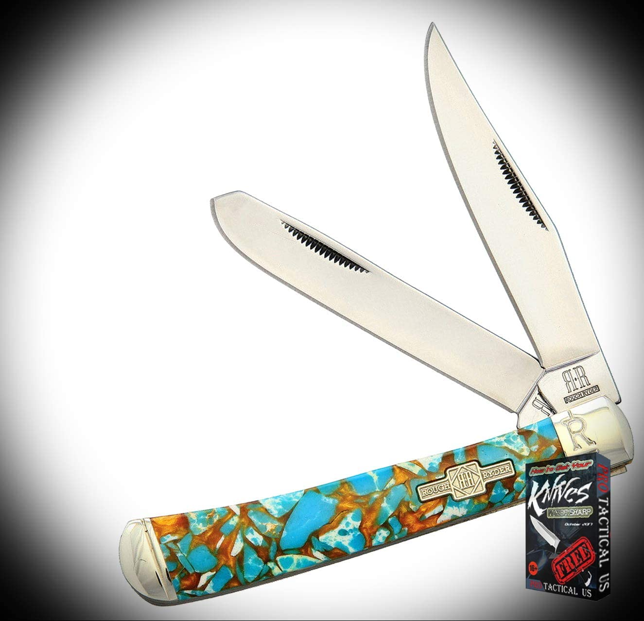 New Rough Rider Amber and Turquoise Trapper Stainless Folding Pocket ProTactical Elite Knife 1944RT + Free eBook