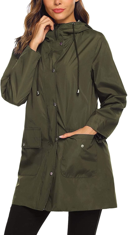 SUNAELIA Rain Jacket Raincoat Women Waterproof Lightweight Hooded Rain Coat Active Outdoor Windbreaker Trench Coat S-XXL