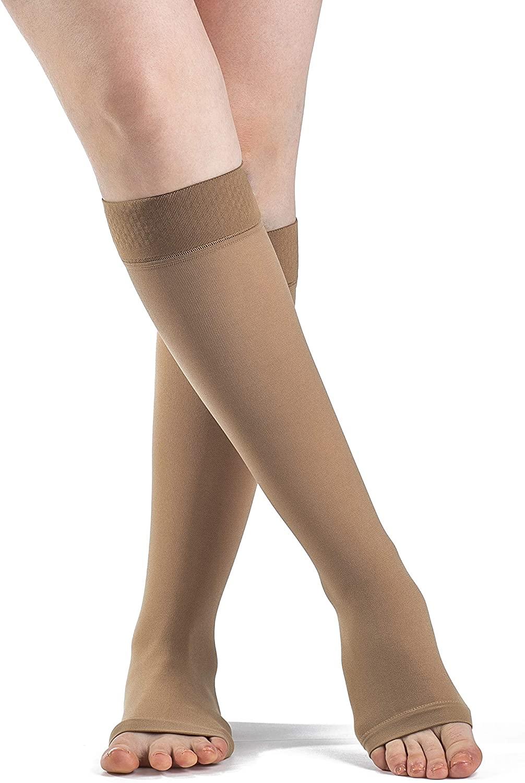 SIGVARIS Men's & Women's Essential Opaque 860 Open Toe Calf-High Socks w/Grip Top 20-30mmHg