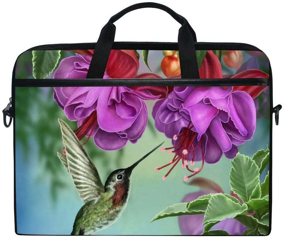 JOYPRINT Laptop Sleeve Case, Hummingbird Flower Purple 14-14.5 inch Briefcase Messenger Notebook Computer Bag with Shoulder Strap Handle for Men Women Boy Girls