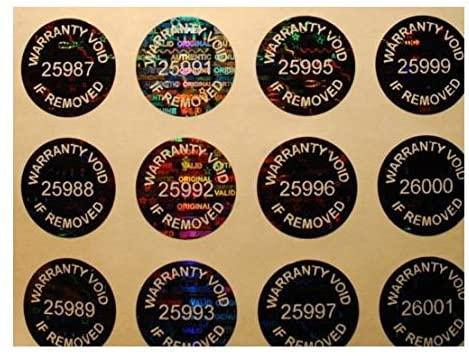 2,000 Black Hologram Numbered TamperMax Tamper Evident Security Label Holographic Seal Sticker, Round 0.5 (12mm).