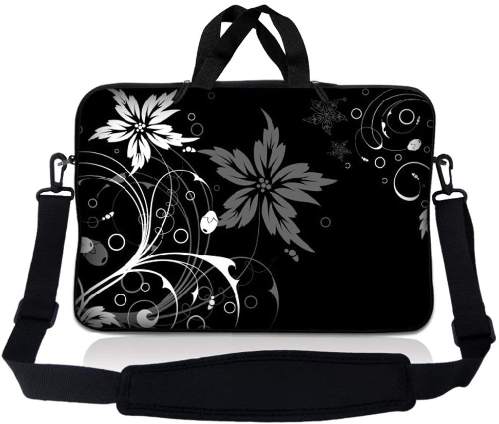 Laptop Skin Shop 14-14.9 inch Neoprene Laptop Sleeve Bag Carrying Case with Handle and Adjustable Shoulder Strap - Black and White Floral Design
