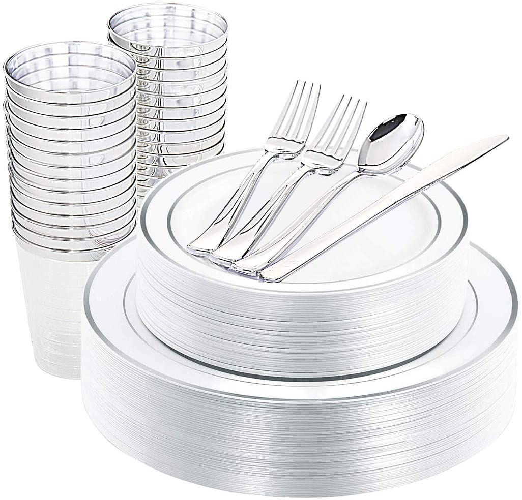 DaYammi 175pcs Silver Disposable Plastic Plates&Cutlery 25 of each: Dinner Plates/Salad Plates/Knives/Spoons/Cups+ 50 Plastic Forks. Thanksgiving, Wedding, Party Decoration Favors