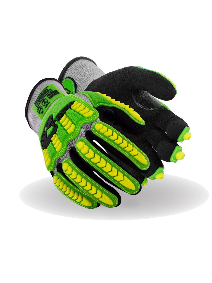 Magid Glove & Safety T-REX Flex Series Lightweight NitriX Grip Technology Palm Coated Impact Glove – ANSI Cut A4 (2 Pair), 10/XL