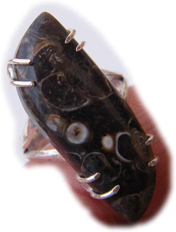Surbhi Crafts Turtella Jasper Ring, Designer Ring, Handmade Ring, Silver Plated Ring (Ring Size - 8) AH-14339