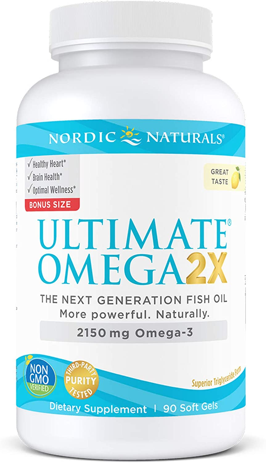 Nordic Naturals Ultimate Omega 2X, Lemon Flavor - 2150 mg Omega-3-90 Soft Gels - High-Potency Omega-3 Fish Oil with EPA & DHA - Promotes Brain & Heart Health - Non-GMO - 45 Servings