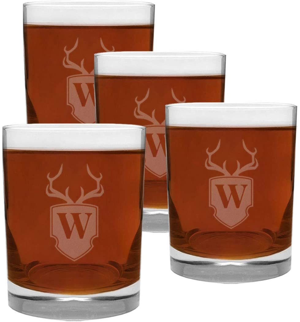 4 Piece Glass Set Engraved with Antler and Shield W-Letter Monogram, 13.5-Ounce