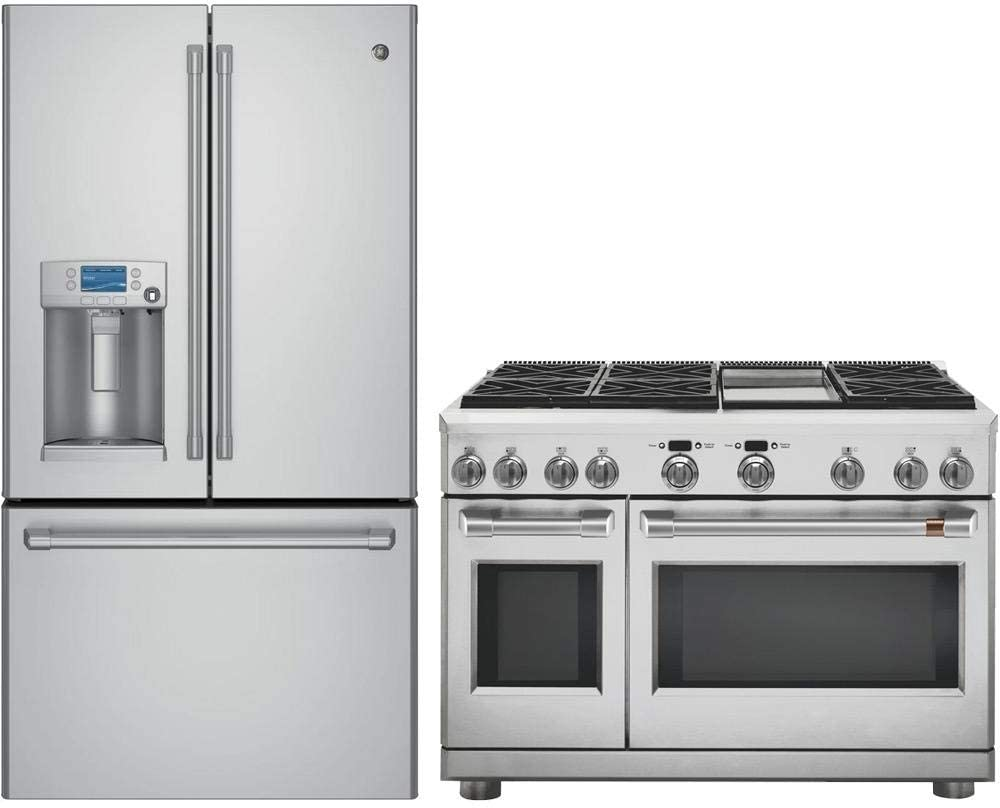 GE Cafe 2 Piece Kitchen Appliance Package with CFE28USHSS 36