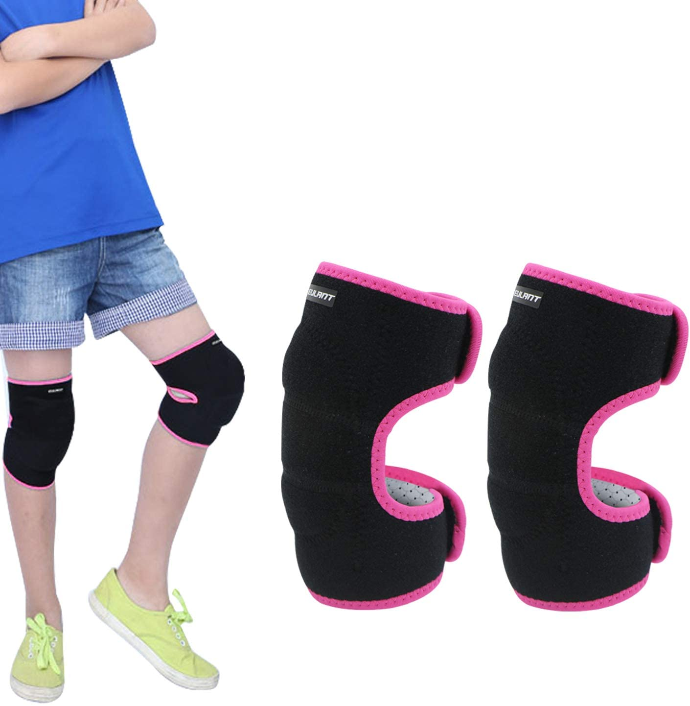 Sborter Protective Knee Pads for Children, Soft Adjustable Kids Elbow Pads with Thick Sponge, Protect The Knee & Elbow, 1 Pair