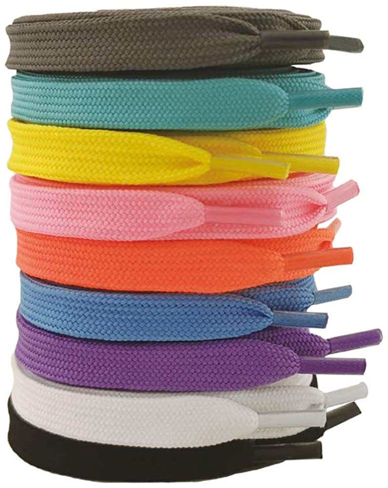 VASGO 9 Pair Pack Narrow Flat shoe laces for sneakers 39inch(100cm) ~ 63inch(160cm) Multi-color