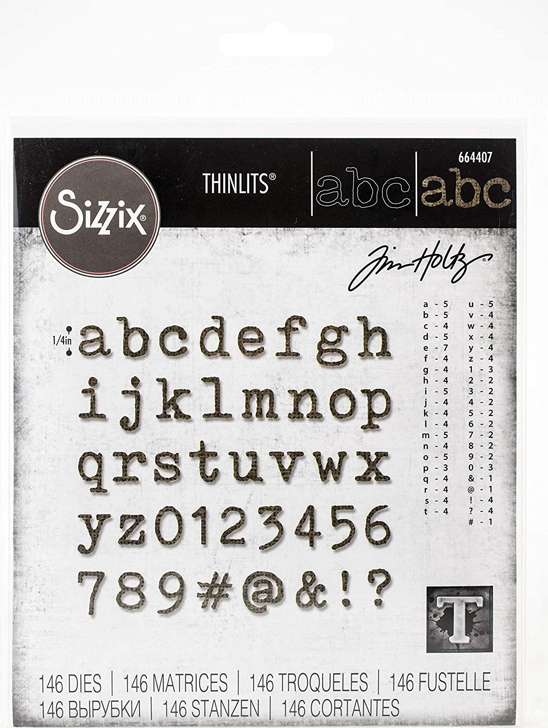 Sizzix Thinlits Die Set 146 Pack Alphanumeric Tiny Type Lower by Tim Holtz, Multicolor