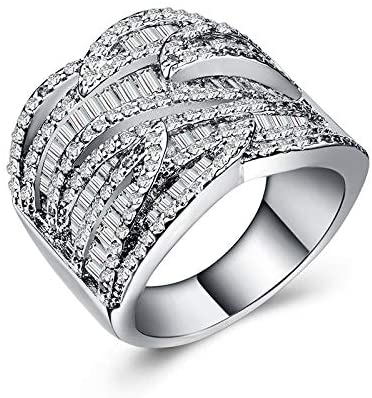 MGZDH Ms. Commitment Zircon Ring Women's Zircon Eternal Ring Plated 925 Silver Ring Jewelry, Silver, No. 8