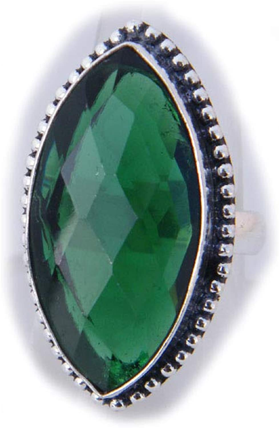 Thebestjewellery Green Quartz Ring, Silver Plated Ring, Handmade Ring, Women Jewelry, (Size- 8.50 USA) BRS-3244