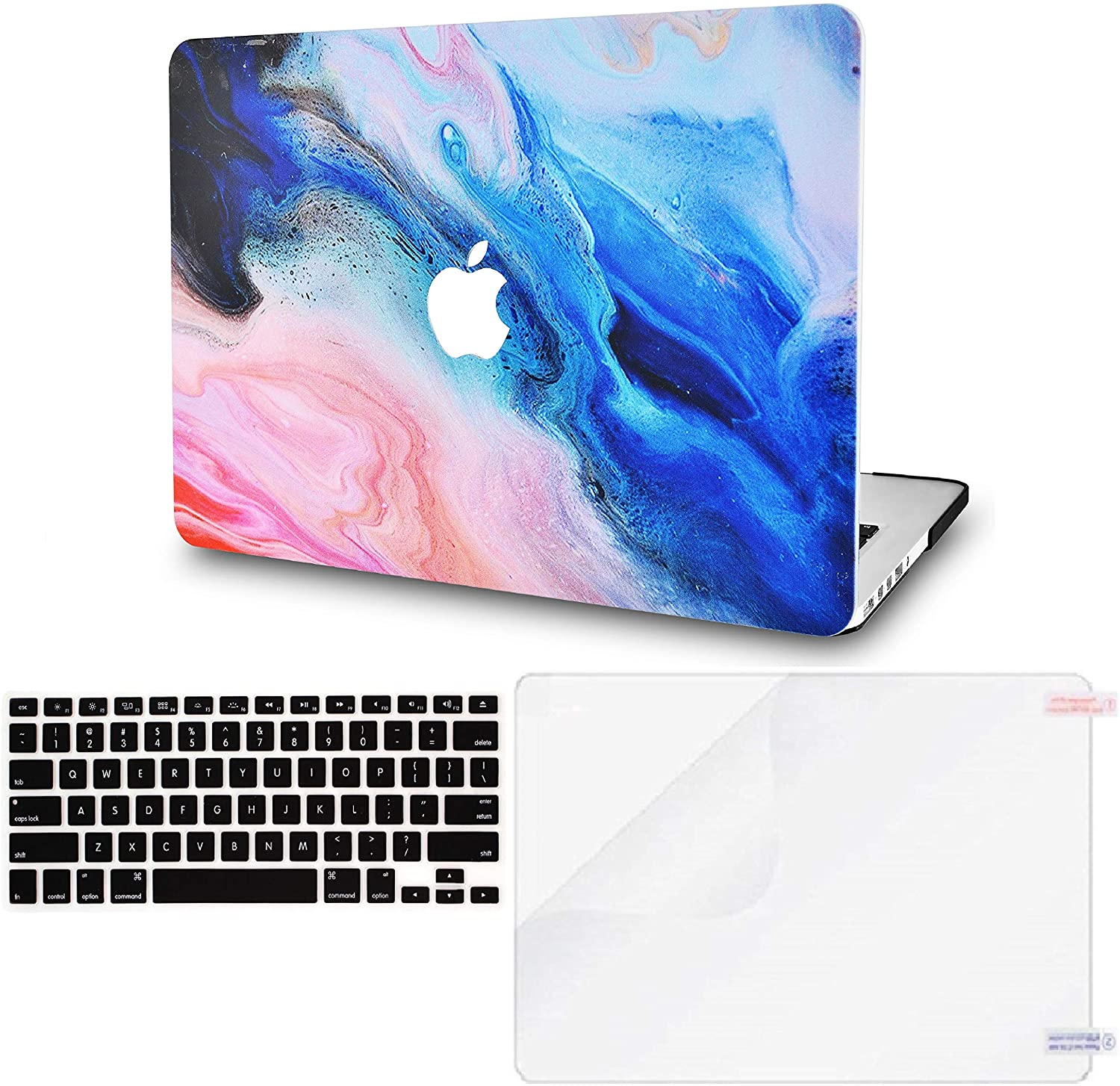 LuvCase 3 in 1 LaptopCase forMacBookPro 15 Touch Bar (2019/2018/2017/2016) A1990/A1707 HardShellCover, Keyboard Cover & Screen Protector(Oil Paint 4)