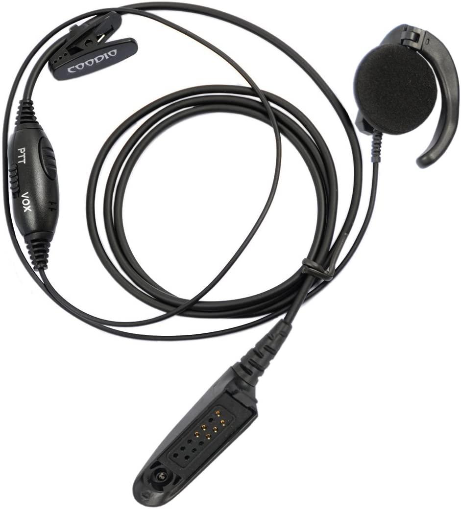 Coodio VOX/PTT Over-the-Ear Earpiece Police Security Headset inline PTT Mic Microphone For Motorola HT750, HT1250, HT1550, MTX850, MTX950, MTX960, MTX8250, PRO5150 2 Way Radio