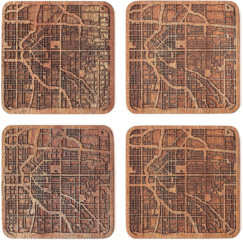 Denver Map Coaster by O3 Design Studio, Set Of 4, Sapele Wooden Coaster With City Map, Handmade