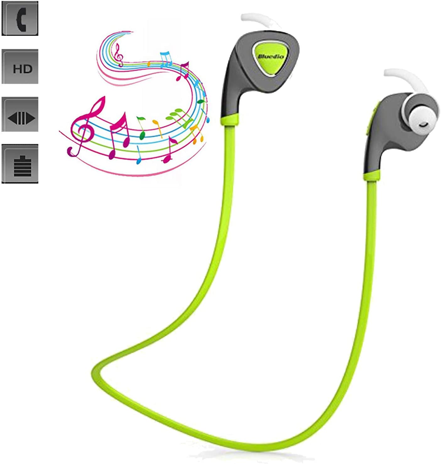 Wireless Headphones Stereo Headset Sport Running Gym Earphones with Mic Handsfree Earbuds Sweatproof Compatible with Android iOS iPhone 11 8 7 6 6S Plus Samsung S9 S8 Tablet PC (Green)