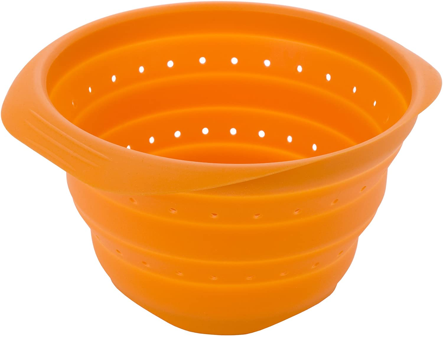 MIU France 11-Inch Collapsible Silicone Colander, Orange
