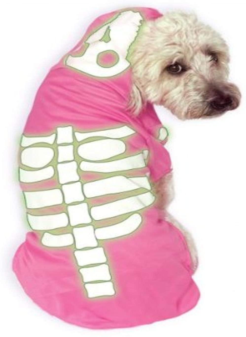 Rubie's Glow-in-The-Dark Skeleton Hoodie Pet Costume, Pink, Small