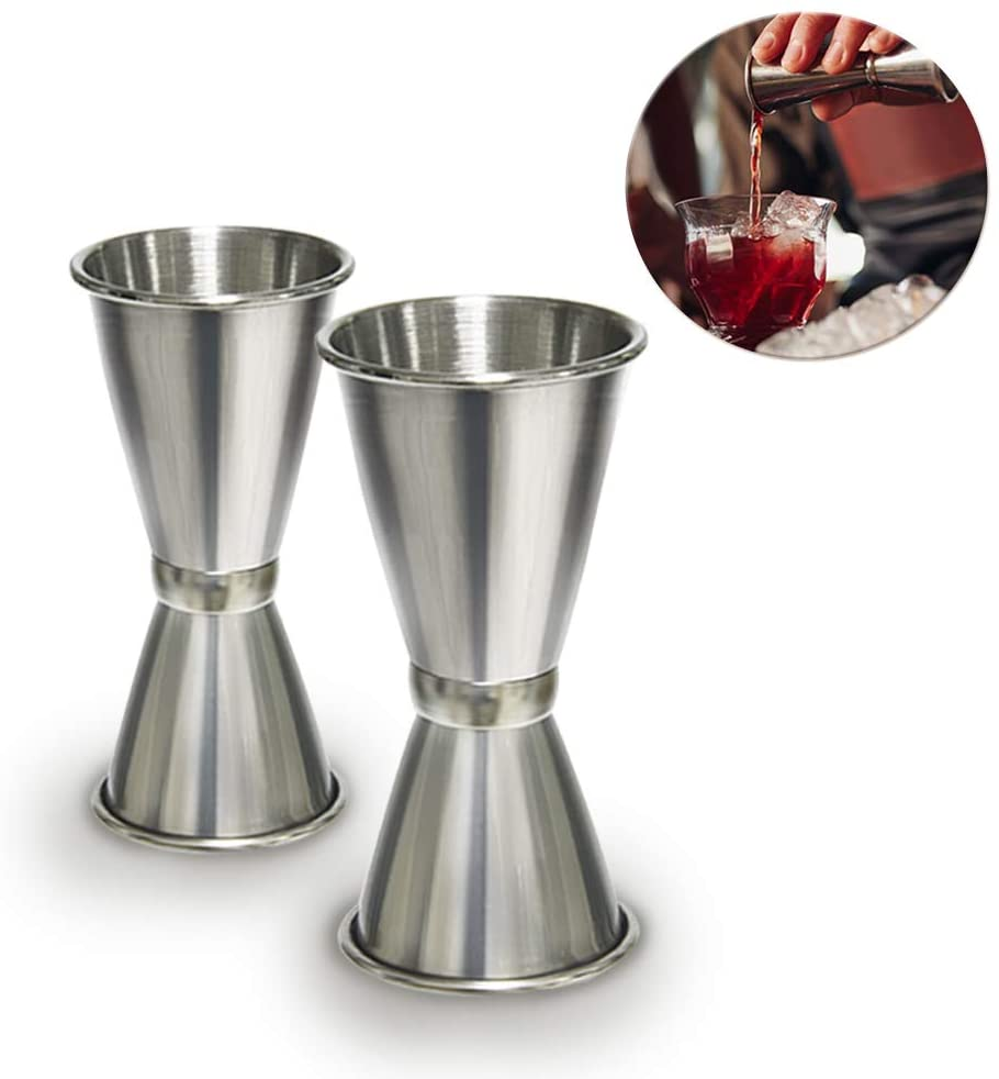 Jigger Stainless Steel - WENTS 2 PCS Cocktail Jigger Dual Spirit Measure Cup Drinks Measuring Cup 20&40ml and 30&50ml