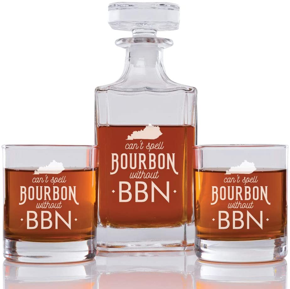Abby Smith Can't Spell Bourbon With BBN Engraved Decanter and Rock Glasses, Set of 3