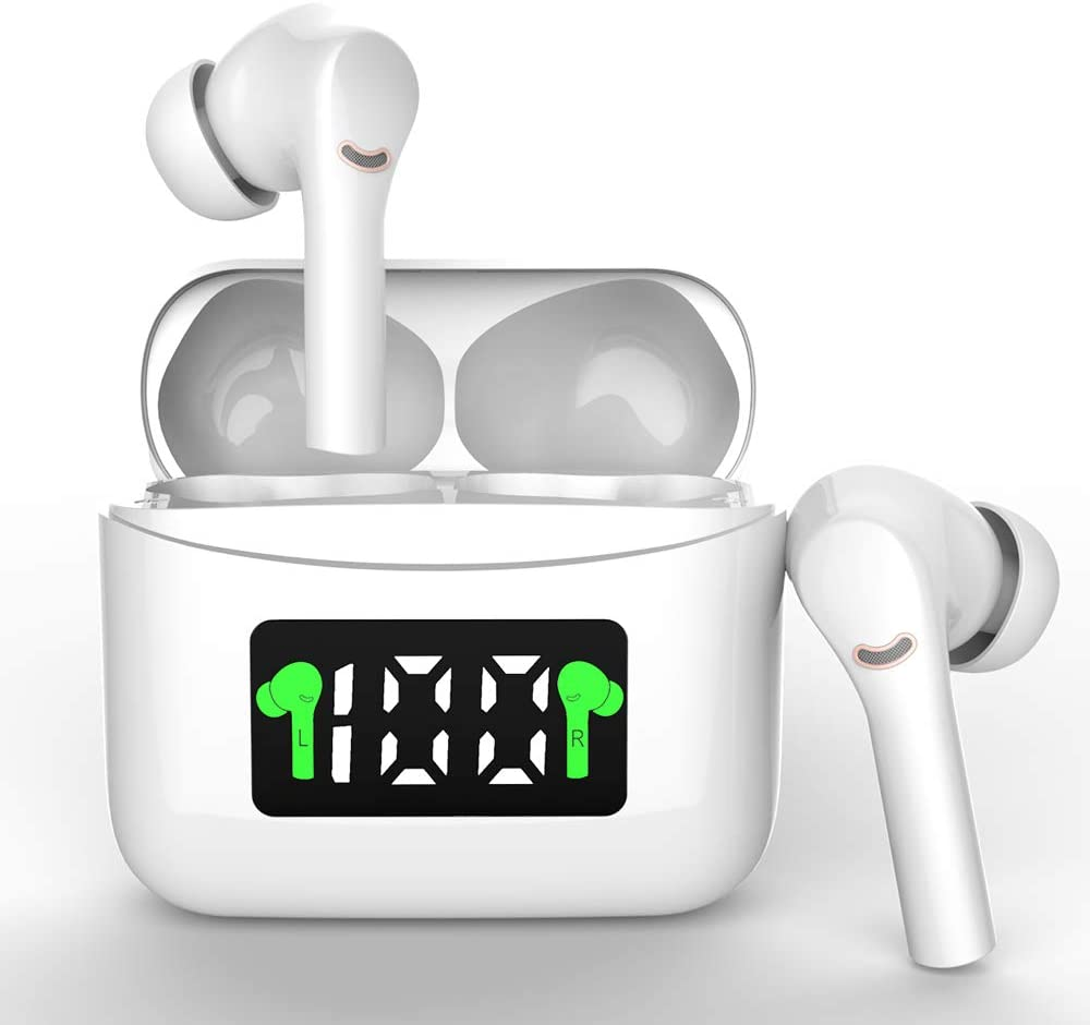 Wireless Earbuds Bluetooth 5.2 Wireless Headset with Led Display Charging Case IPx7 Waterproof 40 Hours Playtime Built-in Mic HiFi Premium Sound Noise Reduction with Deep Base for Sport (White)