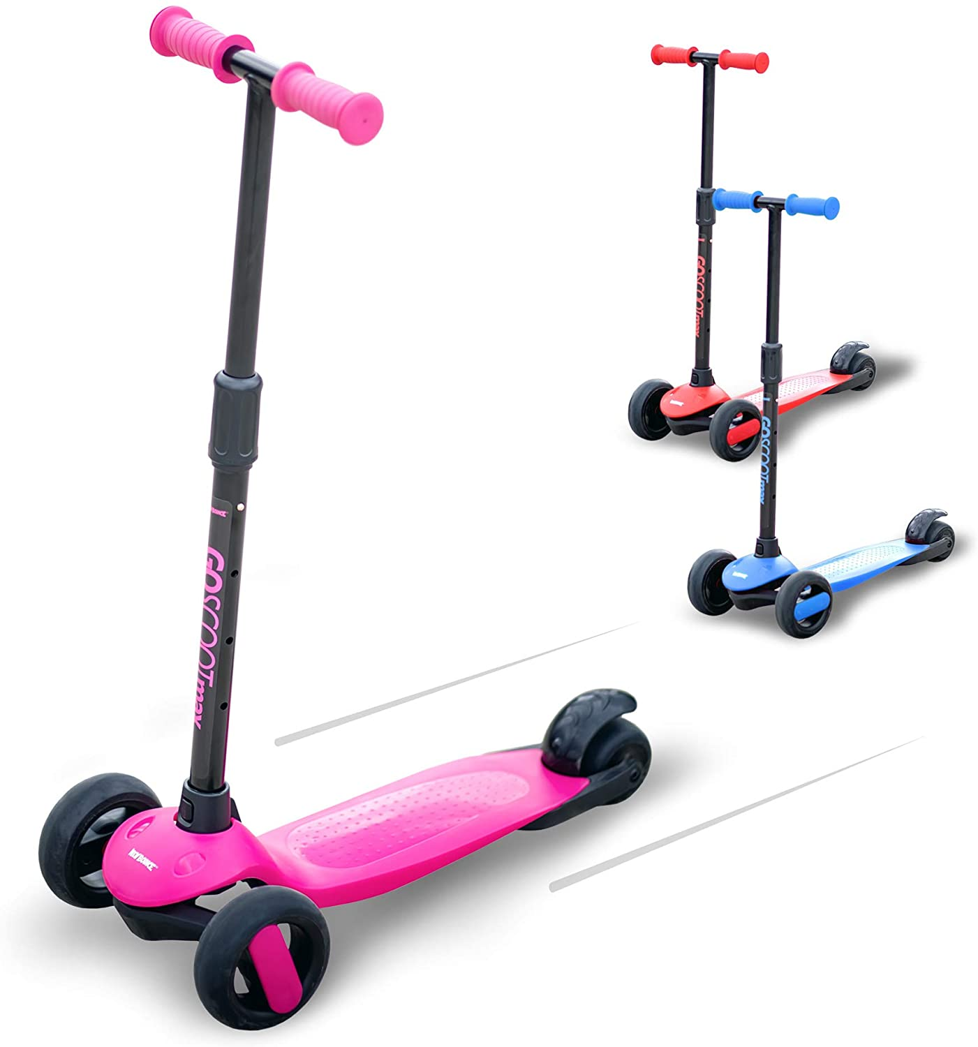 New Bounce 3 Wheel Scooter for Kids - Kick Scooter with Adjustable Handlebar - The GoScoot MAX is Perfect for Children and Toddlers, Girls and Boys Ages 2-6